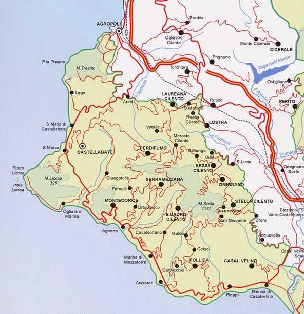 Cartina Stradale Cilento.Area Protetta Marina Delle Cinque Terre