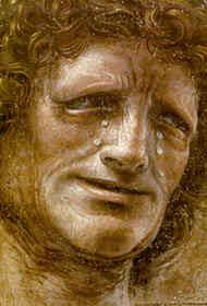 DONATO BRAMANTE, Eraclito e Democrito (partic.), affresco strappato, 1487 ( - eraclito
